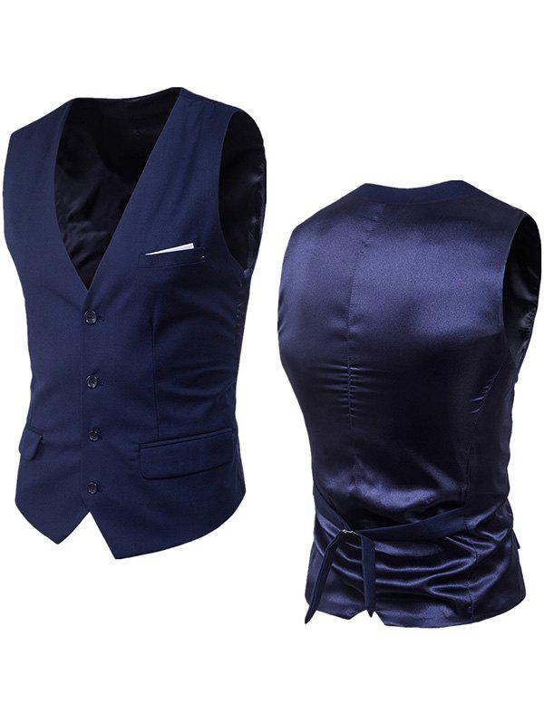 Single Breasted Satin Insert Belted Waistcoat - PURPLISH BLUE 4XL