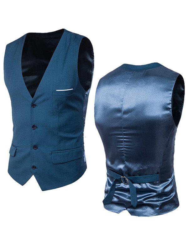 Single Breasted Satin Insert Belted Waistcoat - OCEAN BLUE 6XL