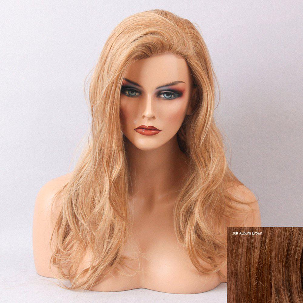 Long Inclined Bang Slightly Curly Human Hair Lace Front Wig - AUBURN BROWN