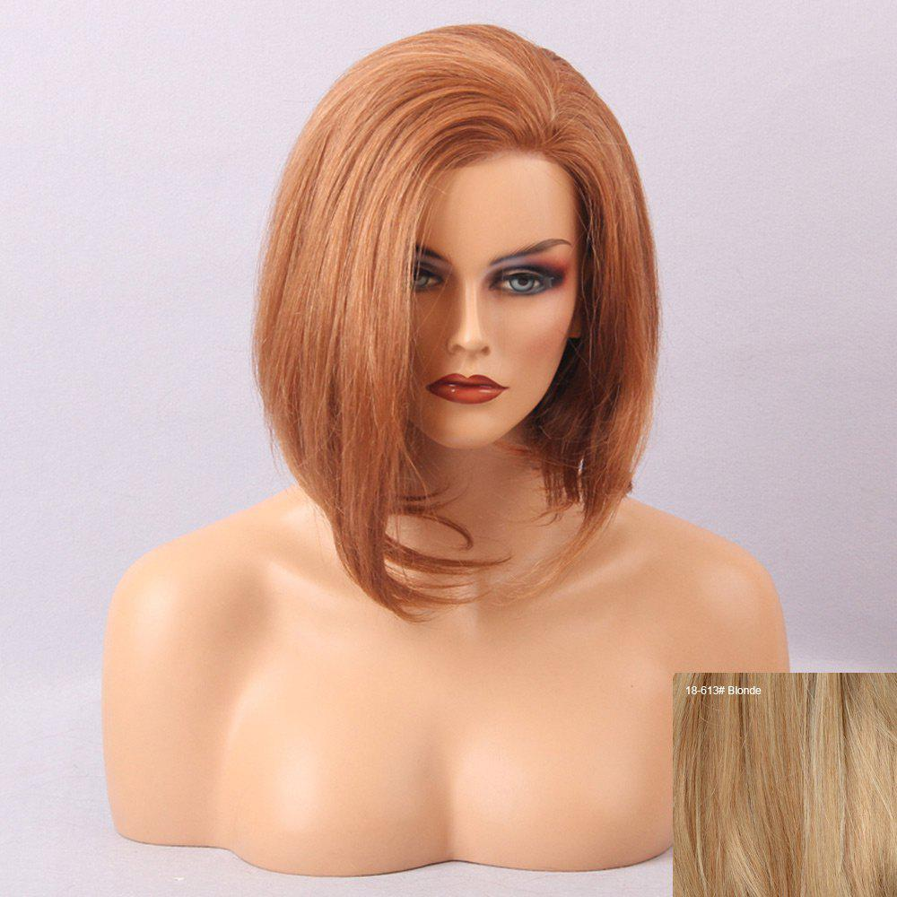 Short Oblique Bang Straight Asymmetric Bob Human Hair Lace Front Wig - BLONDE