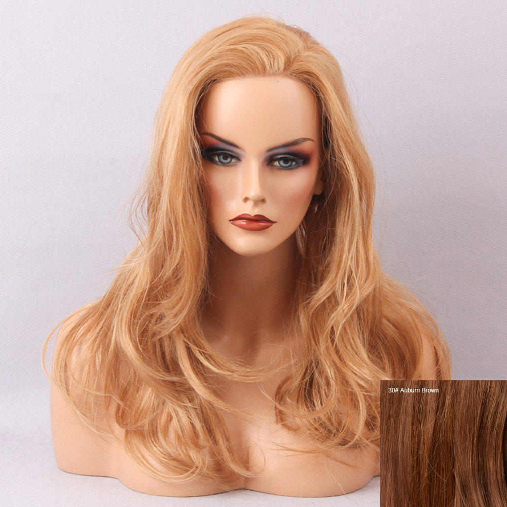 Long Deep Side Bang Bouffant Slightly Curly Human Hair Lace Front Hair Wig - AUBURN BROWN