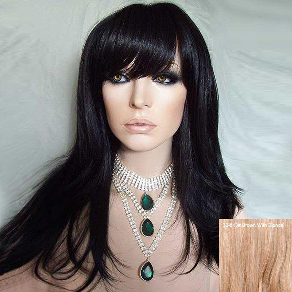 Long Side Bang Straight Human Real Hair Wig - BROWN/BLONDE