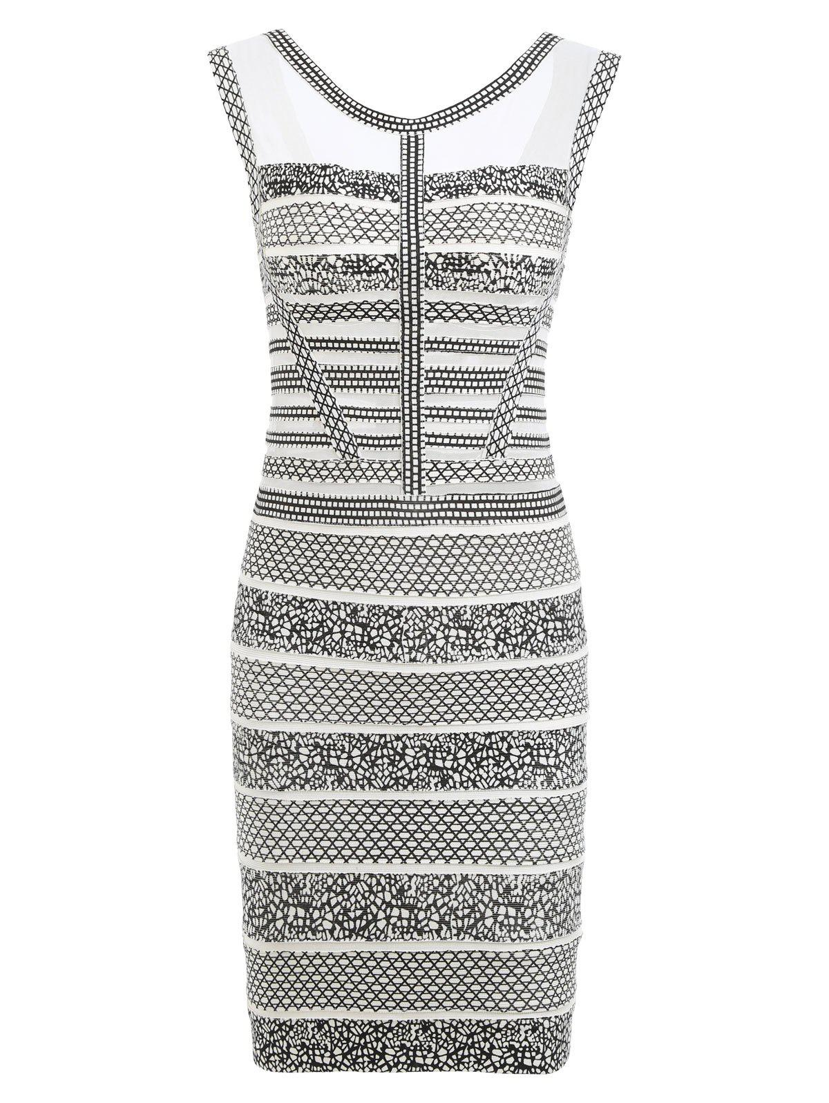 Mesh Insert Sleeveless Print Bandage Dress - WHITE M