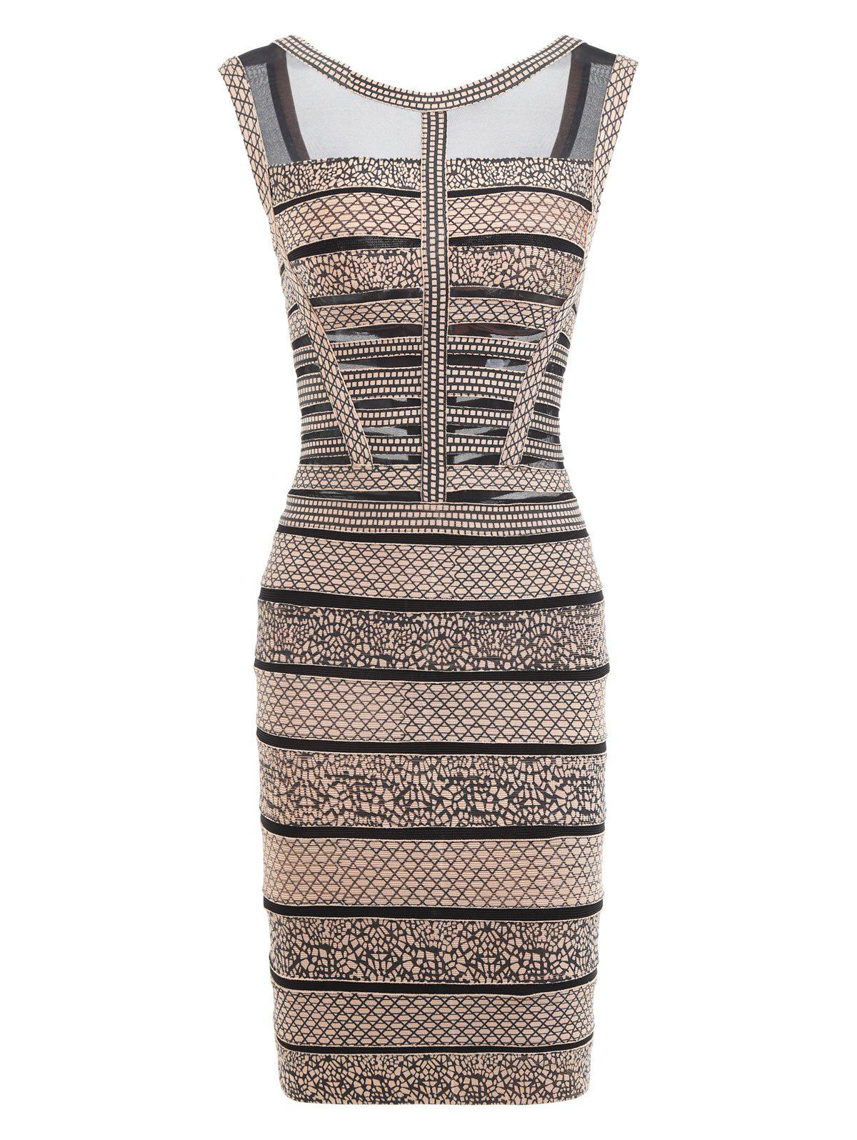 Mesh Insert Sleeveless Print Bandage Dress - BLACK S