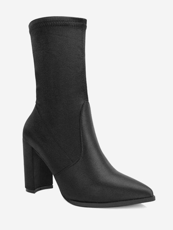Satin Pointed Toe Chunky Heel Boots - BLACK 37