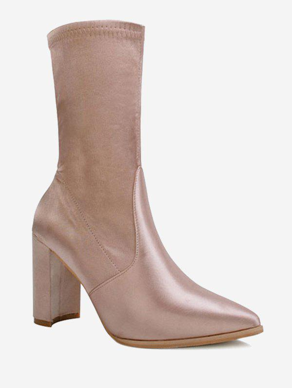 Satin Pointed Toe Chunky Heel Boots - CHAMPAGNE 39
