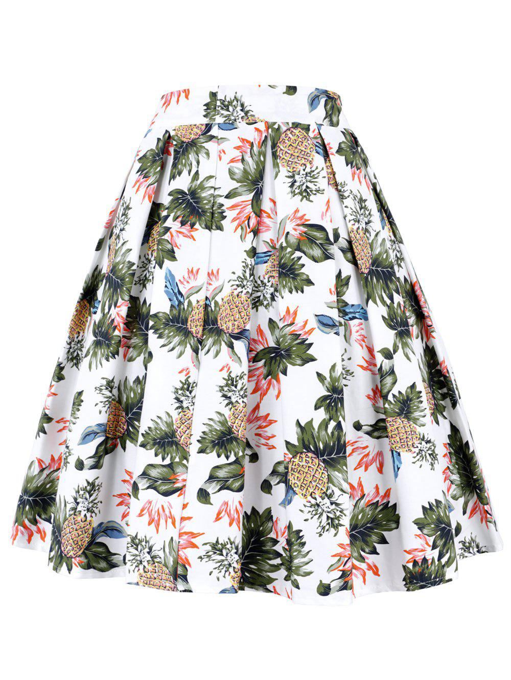 Pineapple Pleated A Line Skirt - WHITE XL