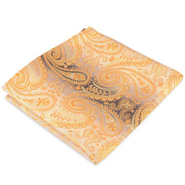 Paisley Jacquard Stripe Printed Pocket Square - YELLOW
