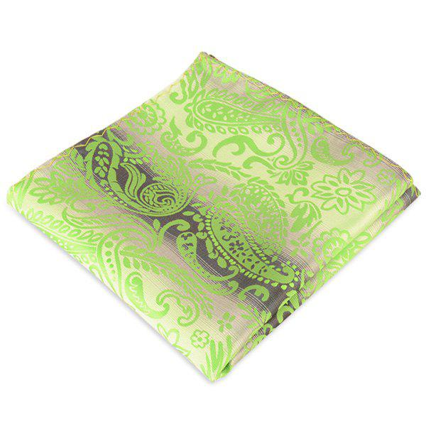 Paisley Jacquard Stripe Printed Pocket Square - GREEN