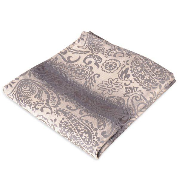 Paisley Jacquard Stripe Printed Pocket Square - BLACK GREY