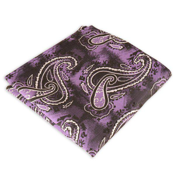 Paisley Jacquard Stripe Printed Pocket Square - PURPLE