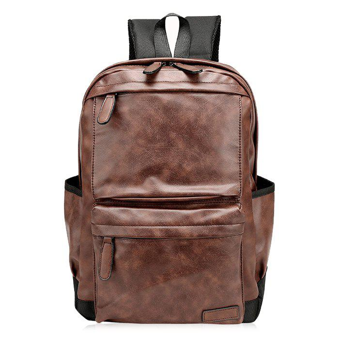 Faux Leather Side Pocket Backpack - BROWN