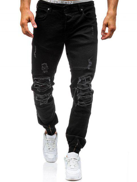 PU Panel Zipper Cuff Distressed Biker Jeans - BLACK 32