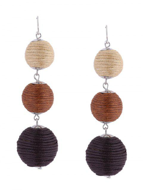 Ball Layered Fish Hook Earrings - BROWN