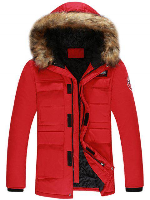 Velcro Pocket Detachable Hooded Parka Jacket - RED L