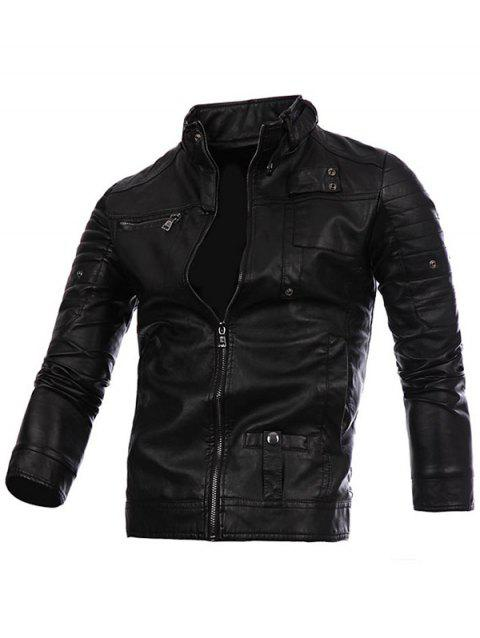 Stand Collar Zip Up PU Leather Jacket - BLACK L