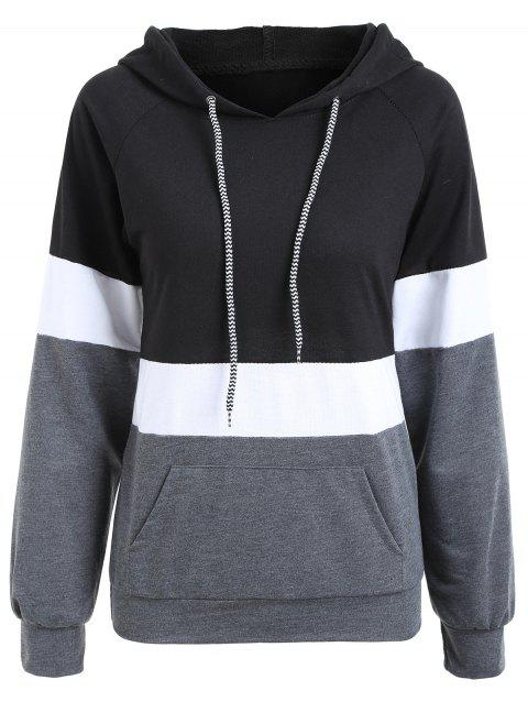 Color Block Boyfriend Hoodie - BLACK S