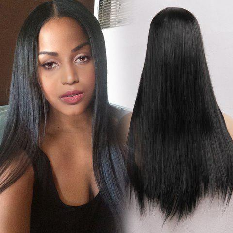 Middle Part Straight Heat Resistant Long Synthetic Wig - JET BLACK 01 24INCH