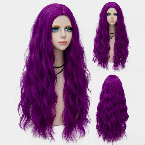 Middle Part Long Fluffy Water Wave Synthetic Party Wig - CONCORD