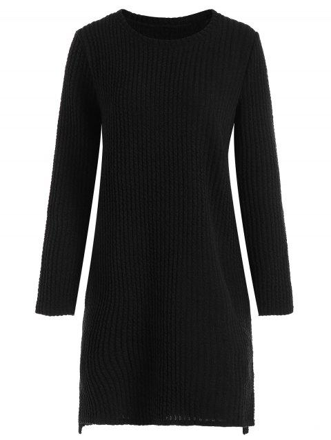 Plus Size Ribbed Long Sleeve Sweater Dress - BLACK 3XL