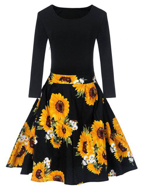 ee08dcdb57 41% OFF  2019 Vintage Sunflower Print Fit And Flare Dress In BLACK ...