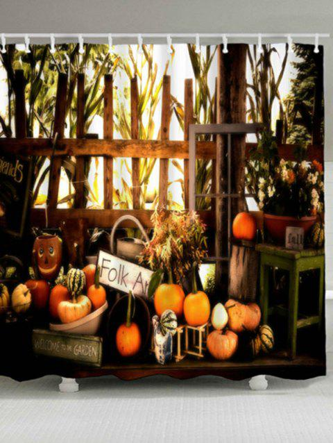 Pumpkin Waterproof Halloween Shower Curtain - COLORMIX W71 INCH * L79 INCH