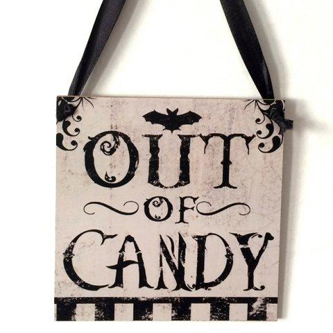 Halloween Candy Pattern Wooden Hanging Sign - BLACK