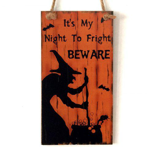 Halloween Witch Pattern Wooden Hanging Signs - ORANGE RED