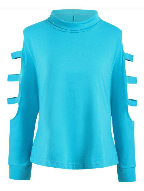 Plus Size Cutout Shoulder Long Sleeve T-shirt - LAKE BLUE 5XL