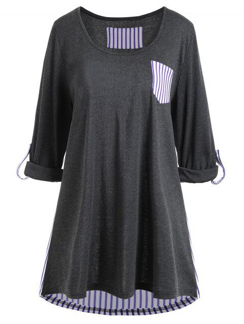 Plus Size High Low Striped Panel Pocket Tee - DEEP GRAY 2XL