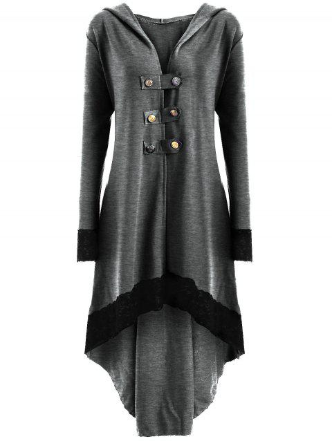 Lace-up Plus Size Hooded High Low Coat - LIGHT GRAY XL