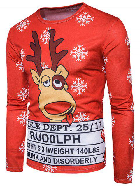 a4d774f5a5b26 41% OFF  2019 Christmas 3D Reindeer Graphic Print T-shirt In ...