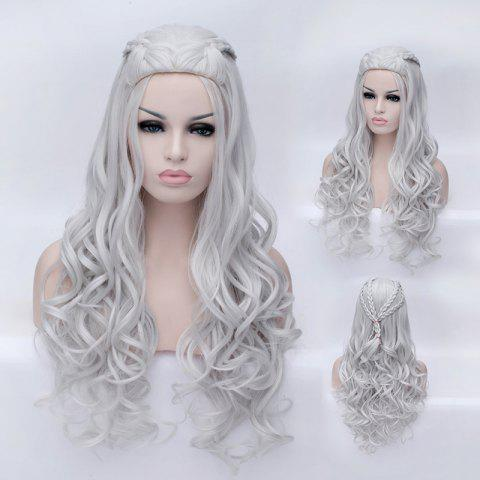 Braided Wavy Long Synthetic Game of Thrones Daenerys Targaryen Cosplay Wig - SILVER WHITE