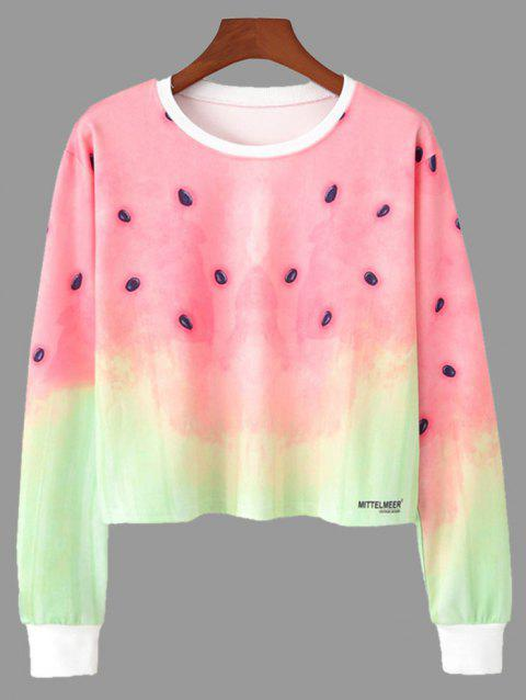 Ombre Color Watermelon Print Cropped Sweatshirt - COLORMIX S
