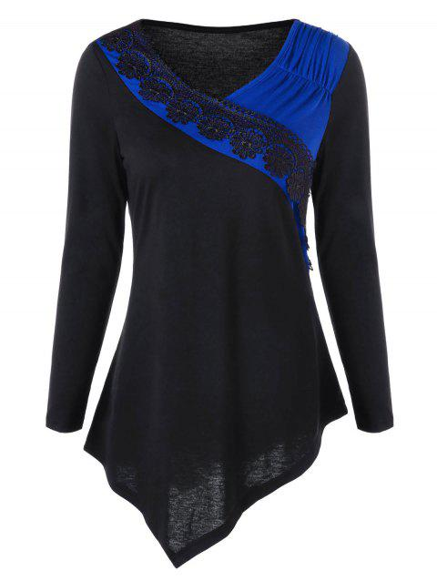 Two Tone Lace Trim Asymmetric Top - BLUE M