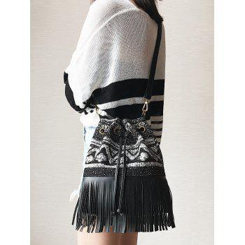 Drawstring Fringed Tribal Print Crossbody Bag - Noir