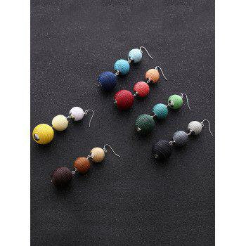 Ball Layered Fish Hook Earrings - RED