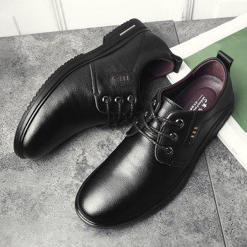Faux Leather Stitching Metal Formal Shoes - 39 39