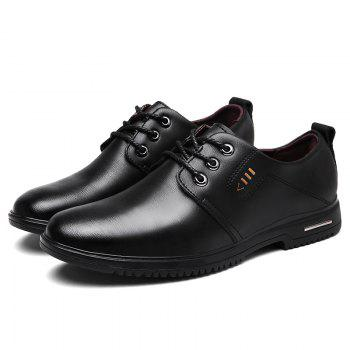 Faux Leather Stitching Metal Formal Shoes - BLACK 39