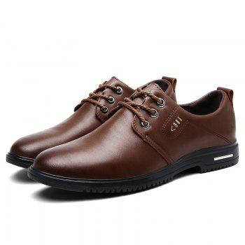 Faux Leather Stitching Metal Formal Shoes - BROWN 44