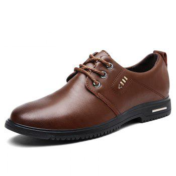 Faux Leather Stitching Metal Formal Shoes - Brun 41