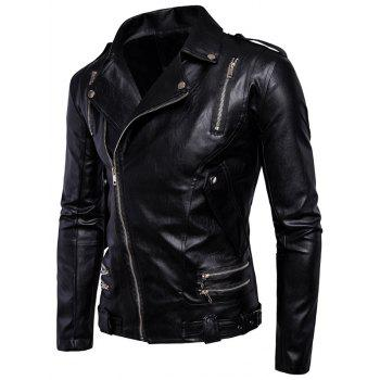 Asymmetrical Zip Epaulet Design Faux Leather Jacket - BLACK XL