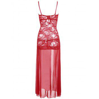 High Slit Lace Long Sheer Slip Dress - RED L