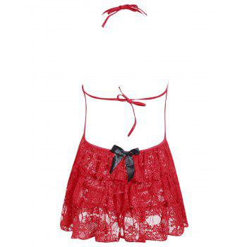 Lace Ruffles Halter Babydoll - ONE SIZE ONE SIZE