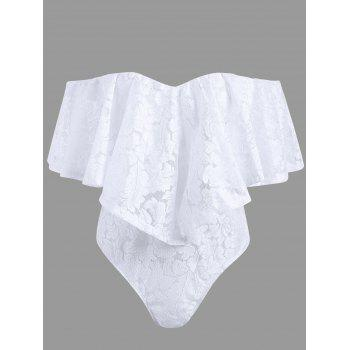 Off The Shoulder Frill Lace Swimsuit - WHITE L