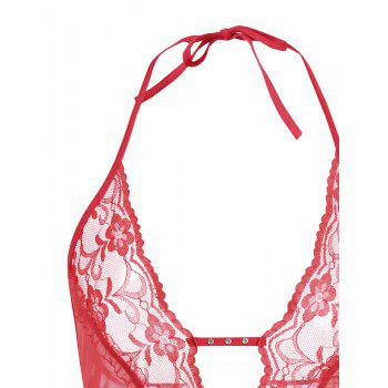 Lace Low Cut Halter Teddy - RED RED