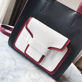 PU Leather Color Block Handbag -  BLACK
