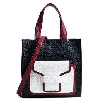 PU Leather Color Block Handbag - BLACK BLACK