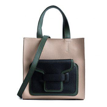 PU Leather Color Block Handbag - KHAKI KHAKI
