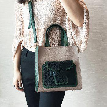 PU Leather Color Block Handbag -  KHAKI